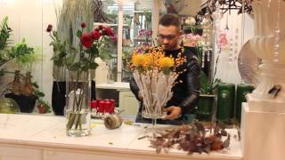 Урок флористики. Осенняя композиция на каркасе из окрашенных веток