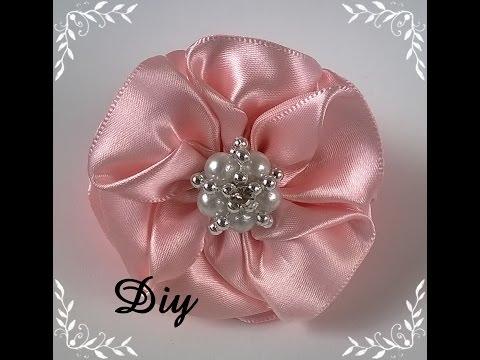 DIY - Flor de fita de cetim \ Flower satin ribbon - DIY