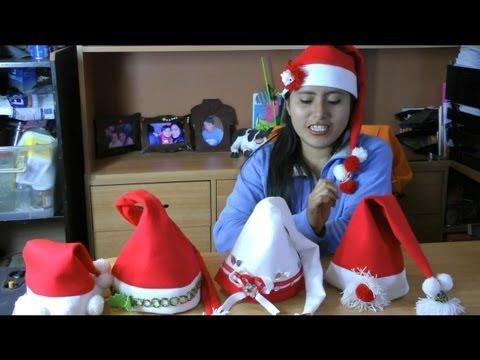 Como hacer Gorros Navideños fácil y rapído :: Gorro de Papa Noel o Santa Claus