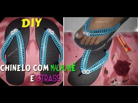 DIY CHINELO CUSTOMIZADO COM STRASS E MACRAMÊ por Jackeline Jor