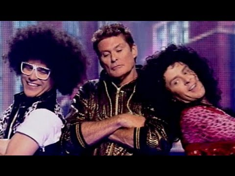 "Olly Murs, Scott Mills & David Hasselhoff Dance 'LMFAO's ""Rock Party Anthem"" Sport Relief 2012"
