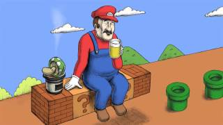 「仕事やってらんねぇ」とマリオがビール片手に愚痴ってます。