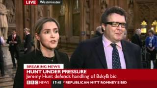 Louise Mensch and Tom Watson interviewed about Jeremy Hunt view on youtube.com tube online.