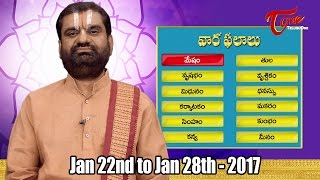 Vaara Phalalu || Jan 22nd to Jan 28th 2017 || Weekly Predictions 2017 || #Horoscope - TELUGUONE