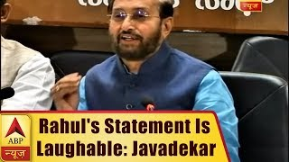 Rahul Gandhi's statement that Congress defeated BJP in K'taka is laughable: Javdekar - ABPNEWSTV