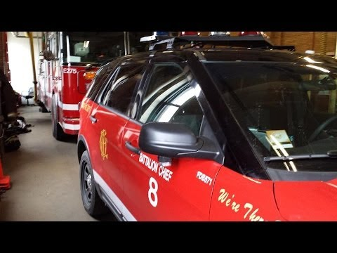 Chicago Fire Department Battalion 8 ( Brand New buggy ) and Truck 53 responding to a fire