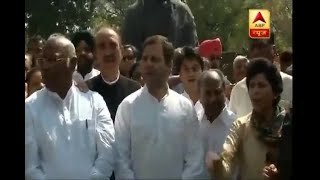 Rahul Gandhi along with other Congress workers protests outside Parliament against SC's ve - ABPNEWSTV