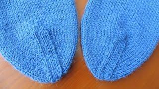 Как вязать мысок носка.  Вариант 1: Ленточный мысок