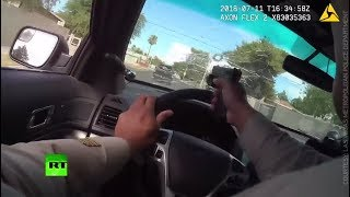 RAW: Cop shoots through own windshield in gun battle & high-speed chase - RUSSIATODAY