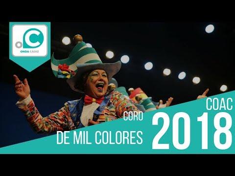 La agrupación De mil colores llega al COAC 2018 en la modalidad de Coros. En años anteriores (2017) concursaron en el Teatro Falla como La hermandad guerrera, consiguiendo una clasificación en el concurso de Preliminares.