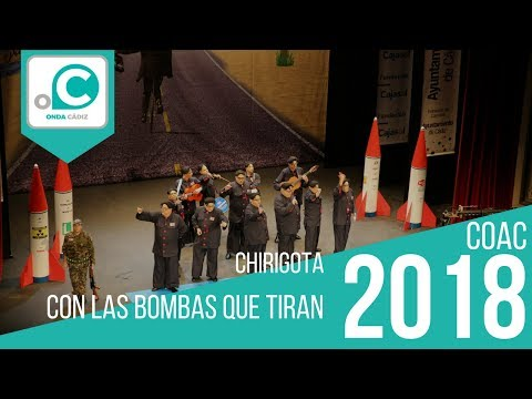La agrupación Con las bombas que tiran llega al COAC 2018 en la modalidad de Chirigotas. Primera actuación de la agrupación para esta modalidad.