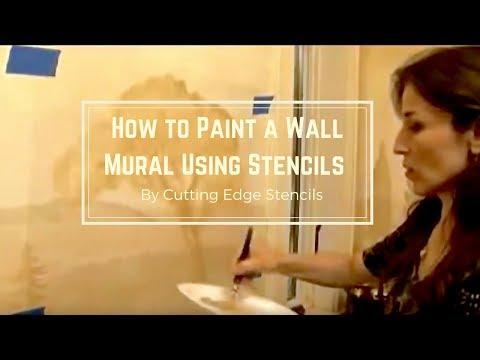 How to Stencil a Mural Using Stencils by Cutting Edge Stencils. DIY decor ideas.