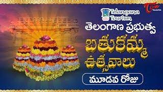 Bathukamma Sambaralu 2017 | Telangana Govt Bathukamma 3rd Day Celebrations - TELUGUONE