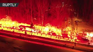 Fans charge up Zenit squad with fire show before match with Fenerbahce in St. Pete - RUSSIATODAY