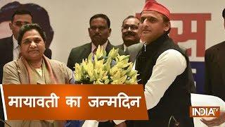 Akhilesh Yadav greets BSP chief Mayawati at her residence on the occasion of her birthday - INDIATV