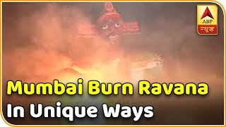 Triumph of good over evil, Mumbaikars burn some unique Ravana effigies - ABPNEWSTV