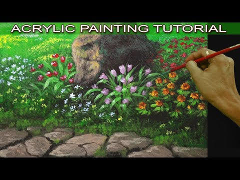 how to paint flower garden with pathway and big rock in acrylic