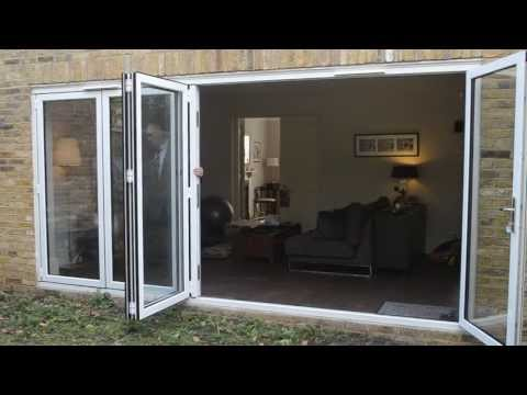 Bifold door: 5 panel white aluminium