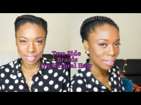Natural Hair Protective Style| 2 Side Braids/Cornrow 0n 4B/4C Hair #naturalhair