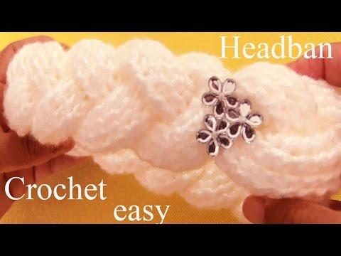 Como tejer a Crochet una diadema en 3D con trenzas gruesas reversibles - How to Crochet braids