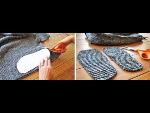Смотри онлайн: Тёплые носки из старого свитера