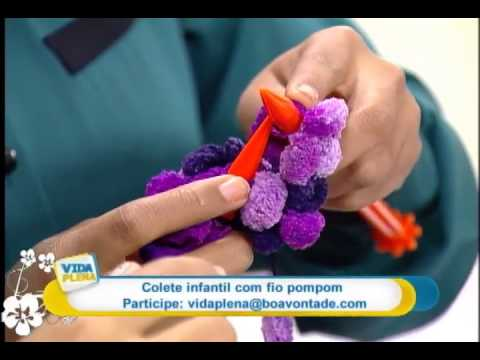 Artesanato - Colete com fio pompom