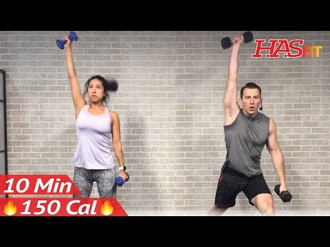 10 Minute Workout : HIIT Workout for Fat Loss & Strength Training Dumbbell Full Body Workout at Home