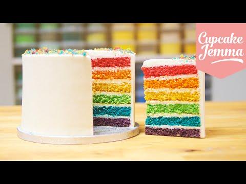 How to make the Best Ever Rainbow Cake   Cupcake Jemma