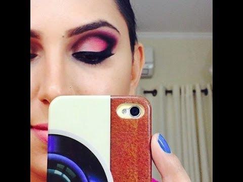 Maquiagem rosa com côncavo preto!