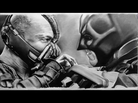 HUGE The Dark Knight Rises - Bane Vs Batman portrait by Barry Jazz Finegan