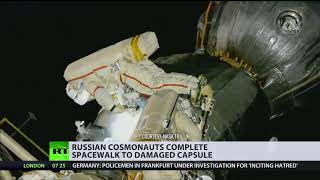 Russian cosmonauts perform space surgery to take samples from mysterious Soyuz hole - RUSSIATODAY