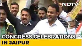 Celebrations Continue Outside Congress Headquarters In Jaipur - NDTV