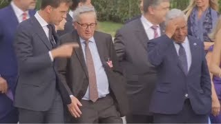 Drunk or in pain? EU's Juncker filmed losing his balance at NATO summit - RUSSIATODAY