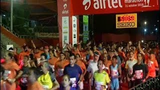 New Delhi: Thousands participate in Half Marathon amid poor air quality - TIMESOFINDIACHANNEL