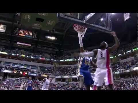 Roy Hibbert dunks all over LeBron James (Mar 26, 2012)