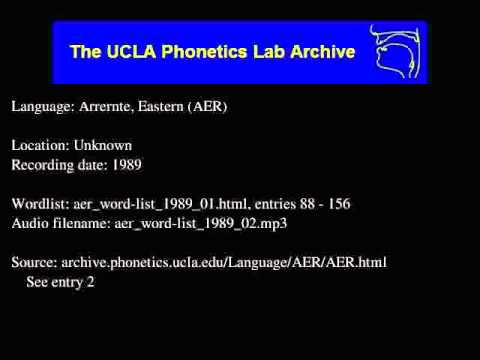 Arrernte, Eastern audio: aer_word-list_1989_02