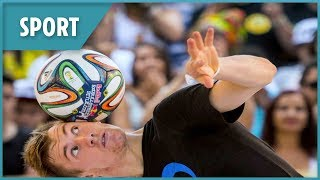 Shattered his leg aged 16...Andrew Henderson is now the world's best freestyle footballer - THESUNNEWSPAPER