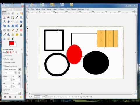 Gimp Tips - Draw / Add Basic Shapes - Circle - Square - Rectangle - Oval (Ellipse)