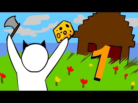 Minecraft for noobs Cartoon part 1 Surviving the first 2 nights 