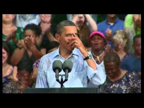 Raw Video: Obama Campaigning in the Rain