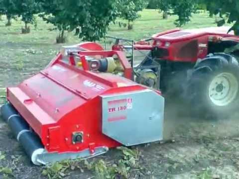 CASCINACIAPUN Raccolta nocciole con raccoglitrice a spazzole TR 180 e trattore GOLDONI QUASAR 85