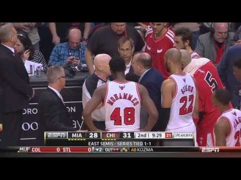 Nazr Mohammed gets ejected for shoving Lebron James Heat-Bulls Game 3