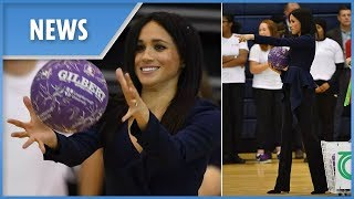 Meghan Markle shows her sporty side playing catch in four-inch heels with Prince Harry - THESUNNEWSPAPER