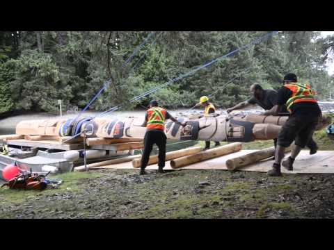 Gwaii Haanas Legacy Pole arriving at Windy Bay, Haida Gwaii