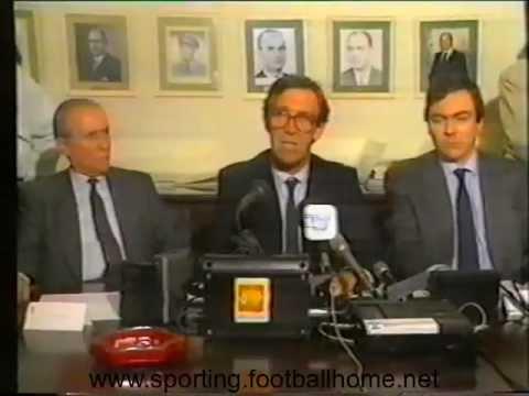 Conferência de Imprensa de Abrantes Mendes Presidente Ass. Geral do Sporting em 1988/1989