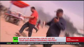 Reporter working for RT hit by tear gas while covering protests in Gaza - RUSSIATODAY