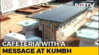 """At Kumbh Mela 2019, Unique """"Toilet Cafeteria"""" A Big Draw. - NDTV"""