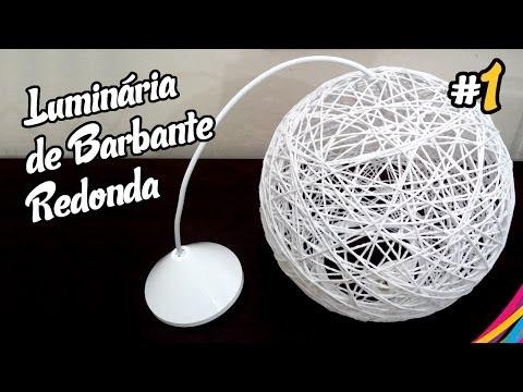 Luminaria de Barbante Redonda / Twine Lampshade Round DIY #1