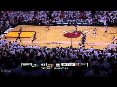 Mike Miller 7/8 3 Pointers vs Thunder (2012 NBA Finals GM5)