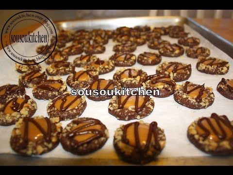 Chocolate and Caramel Cookies/Gateaux chocolat et caramel-Sousoukitchen